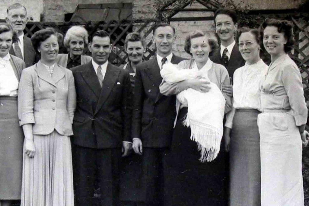 Linda's christening at 40 Libra Road, 1955