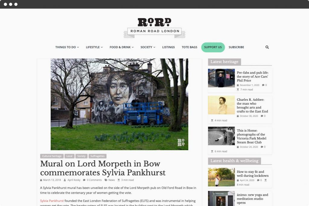 Screenshot of article, Lord Morpeth Mural