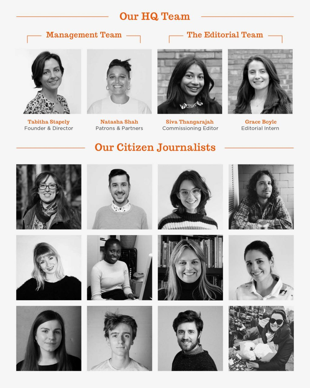 Poster showing extended editorial team at Roman Road LDN