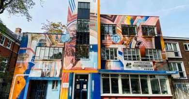 Main yard studio mural of Clara Grant