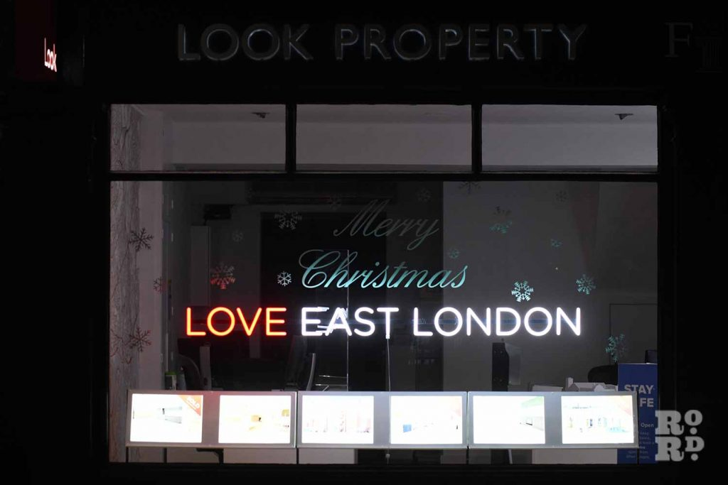 Christmas window display at Look Property, Roman Road, by photographer Phil Verney