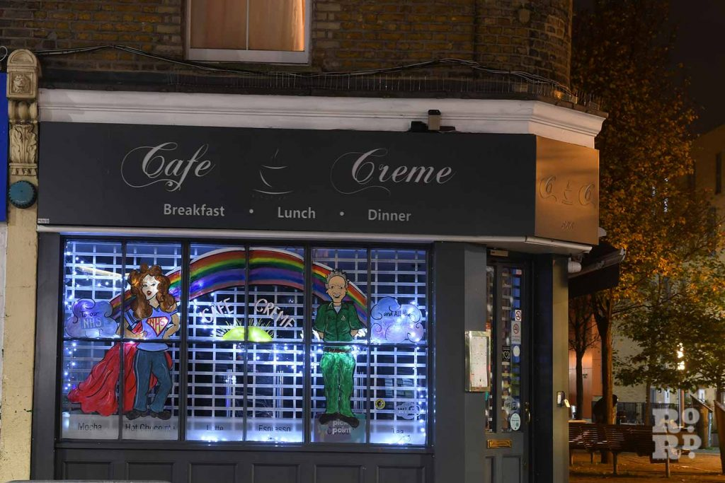 Cafe Creme's Christmas lights, Roman Road, by photographer Phil Verney