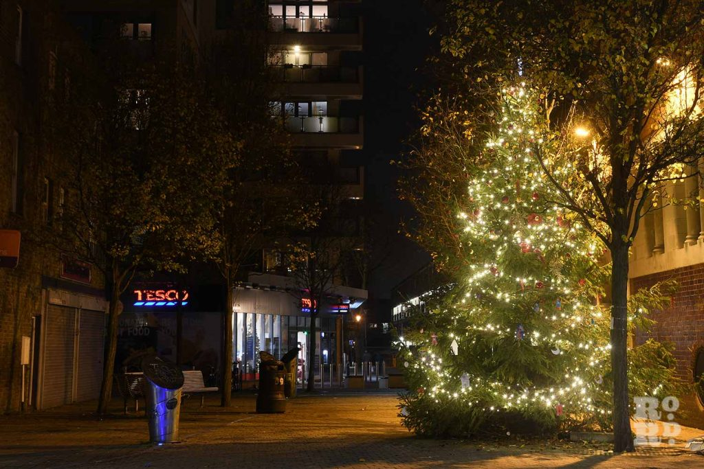 Christmas tree, Gladstone Place, Roman Road, by photographer Phil Verney