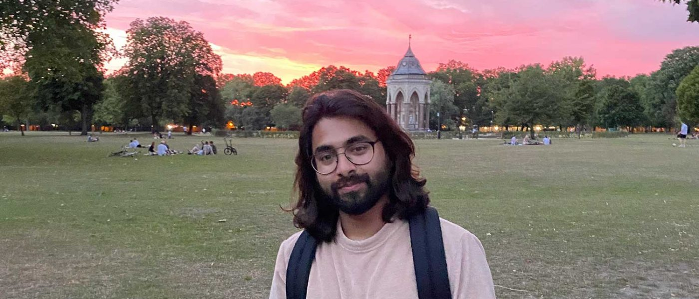 Ifti Lafit in Victoria Park against the sunset that inspired his lockdown poem