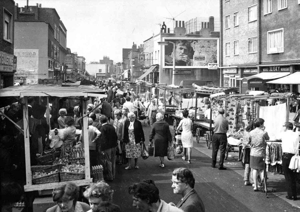 East London's bustling Roman Road Market in 1968