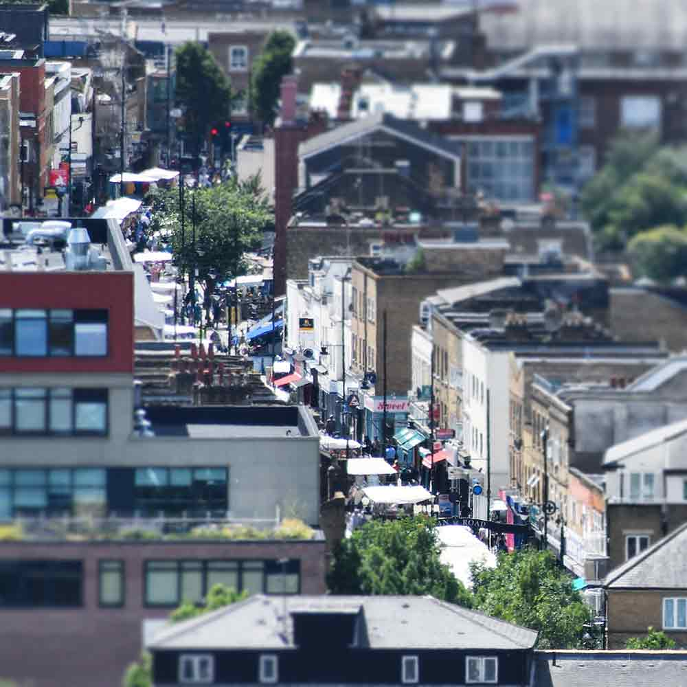 Aerial shot of Roman Road Market by Phil Verney