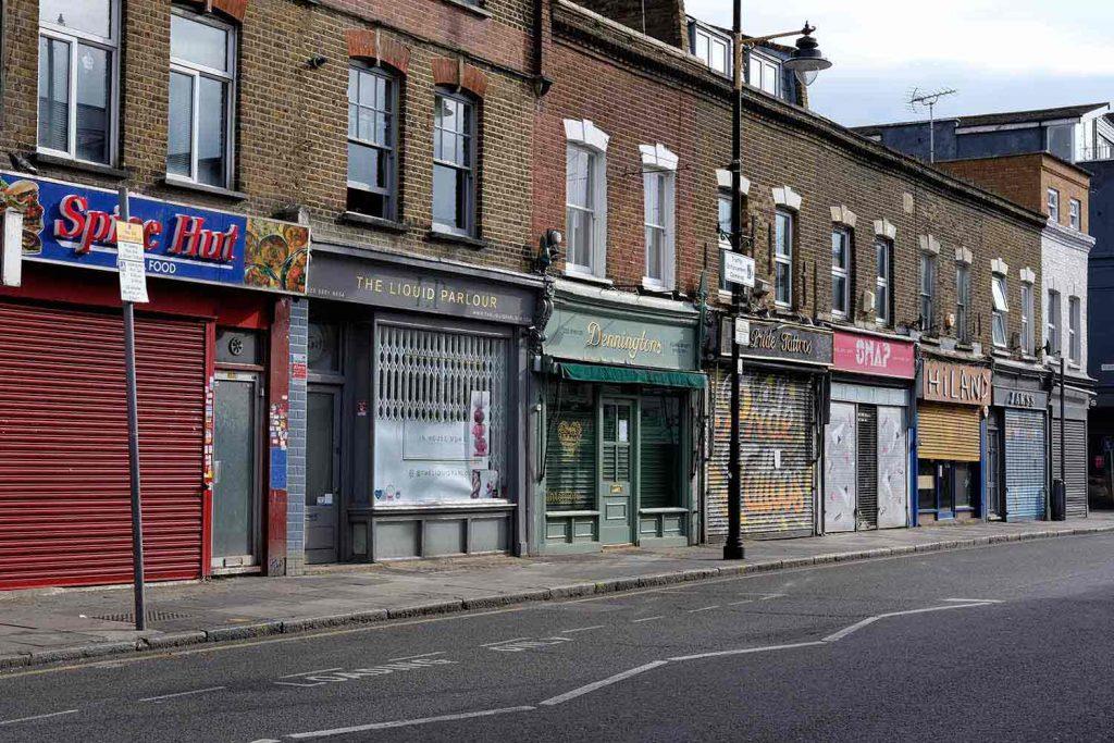 Shuttered shops on Roman Road during lockdown 2020
