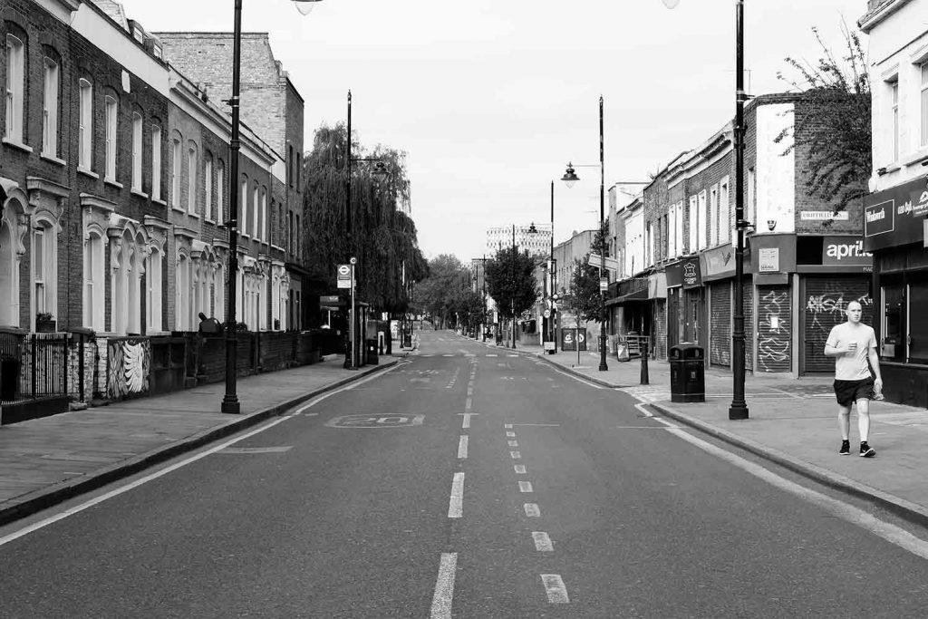 Empty Roman Road during lockdown 2020
