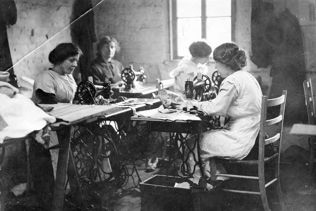 Women sewing at the Toy Factory on Norman Grove, near Roman Road in Bow, East London