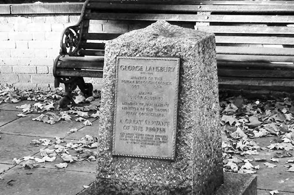 Memorial stone for Labour MP George Lansbury, 'a great servnt of the people'