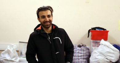 Iranian refugee Mobin, at Tuesday Night Bites food bank in Bethnal Green