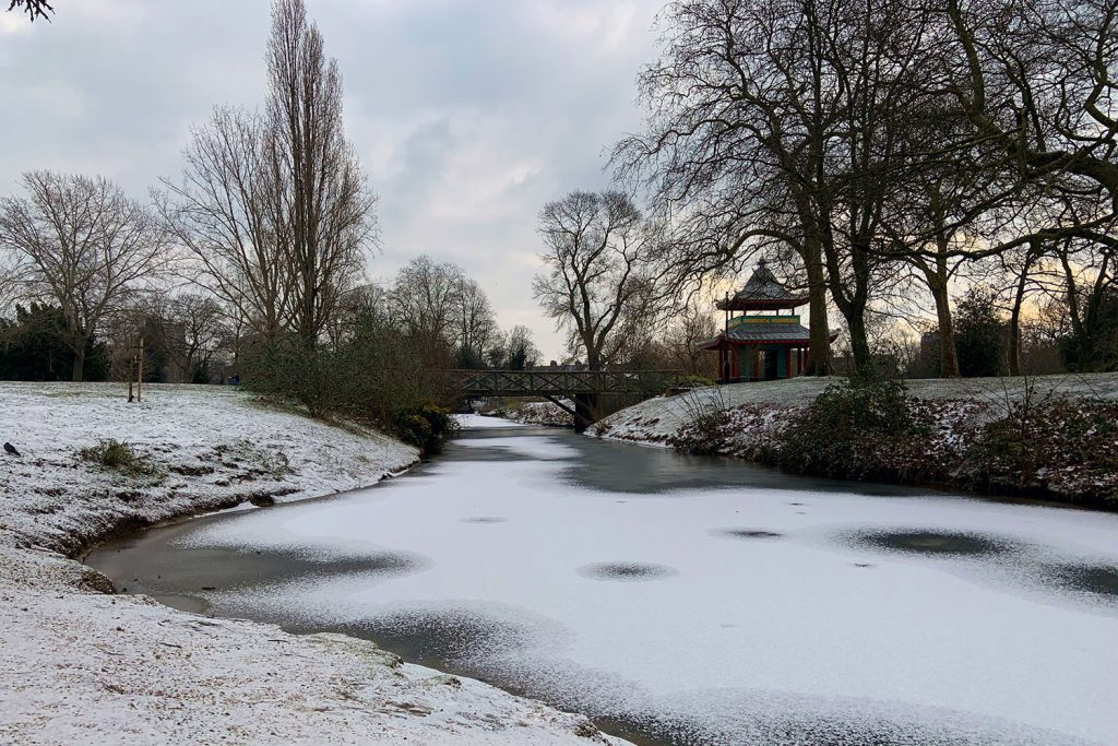 Bridge and pagoda, Victoria Park in the snow, 2021