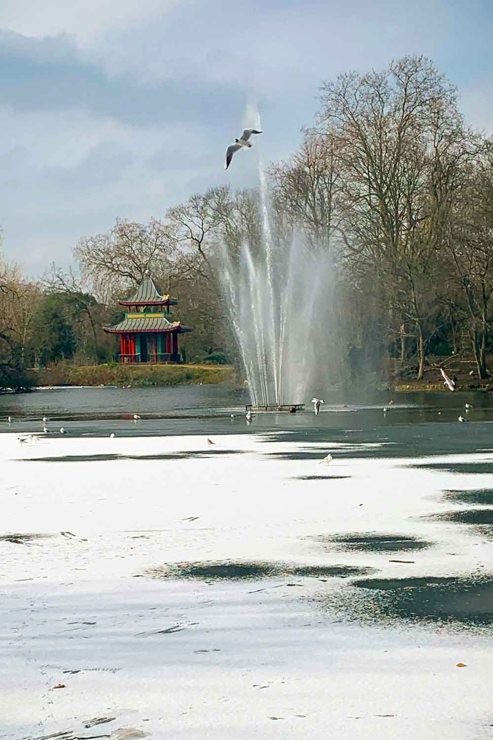 Victoria Park in the snow, East London, 2021