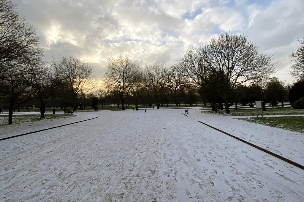 Footprints in the snow, Victoria Park, East London, 2021