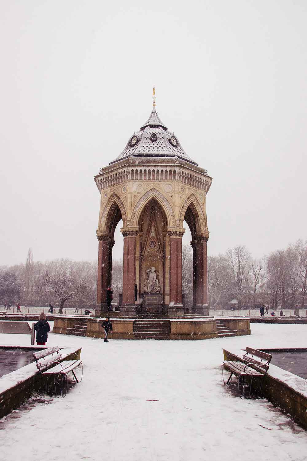 Coutts Fountain, Victoria Park in the snow, East London, 2021