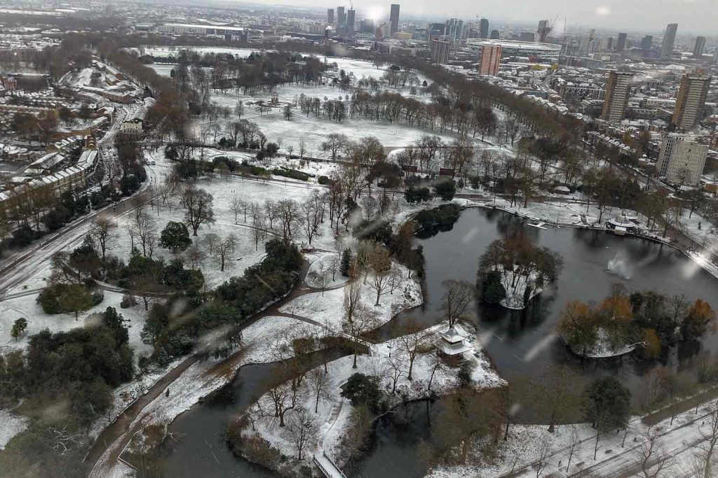 Aerial shot of a snowy Victoria Park in 2021.