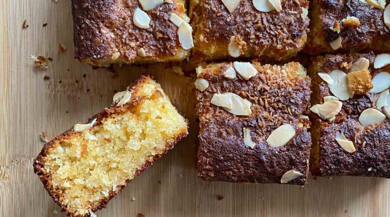 Almond and coconut tray bake by Tamsin Robinson