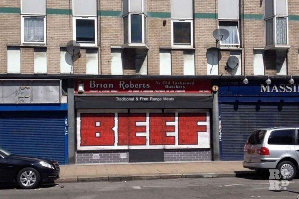 Beef on shutters, street art, Roman Road, Globe Town