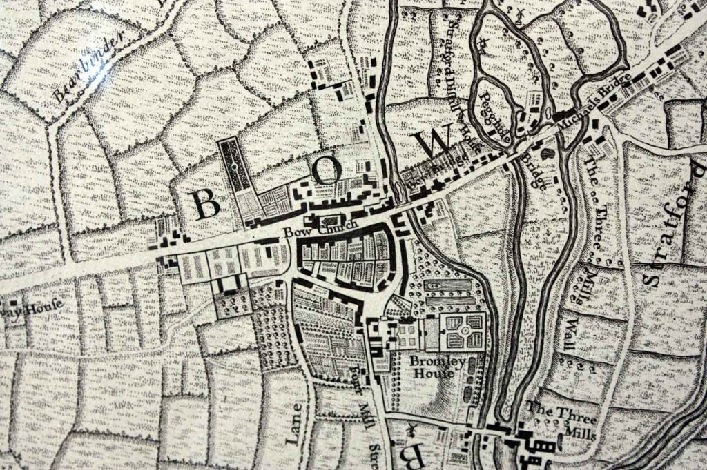A map showing Bow Bridge where it crossed the River Lea, East London.