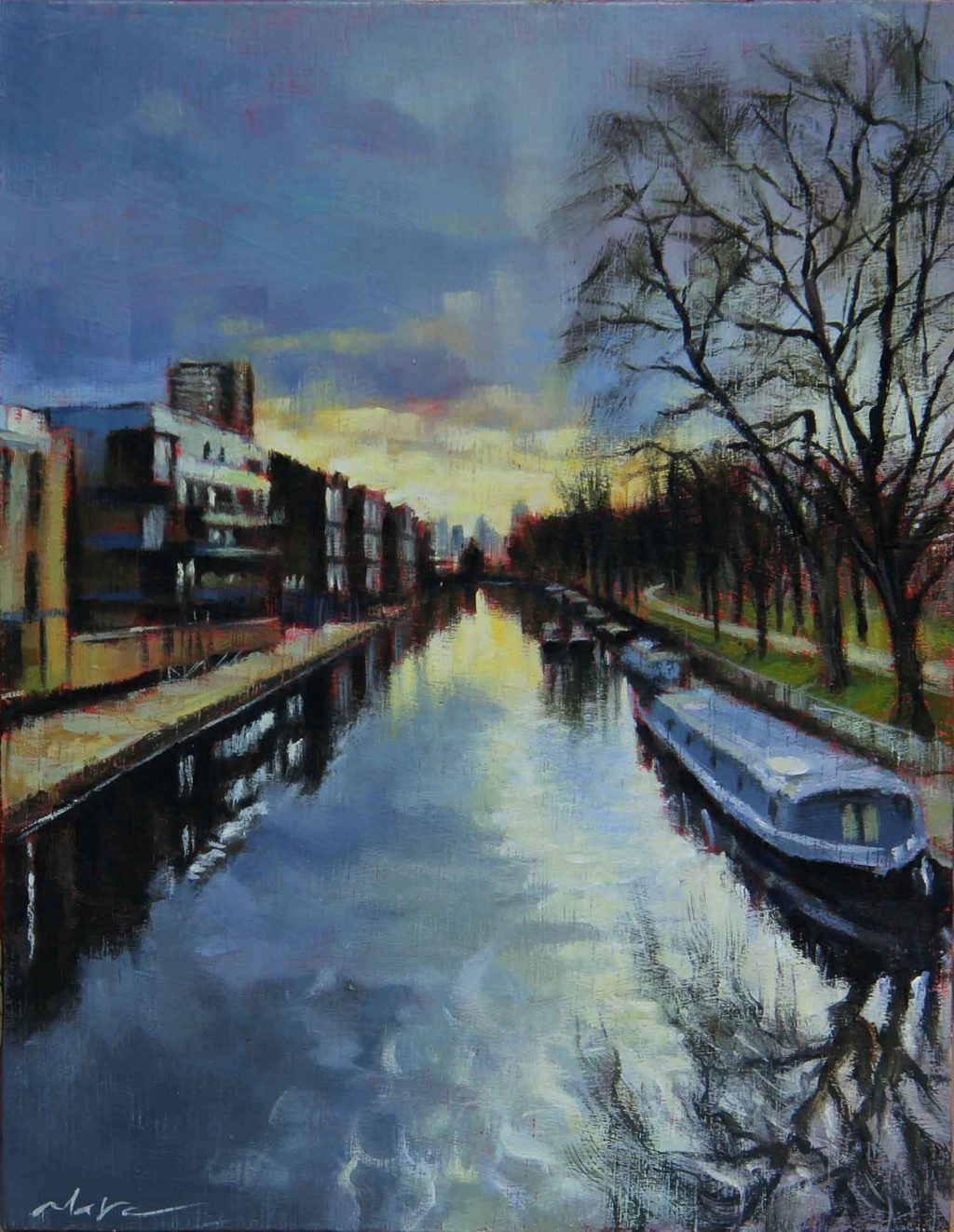 Canal by Victoria Park, painting by artist Marc Gooderman.