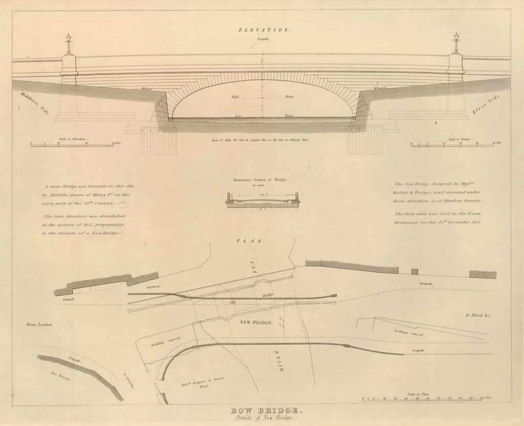 Drawing for the Bow Bridge showing a single arch to replace the three arches, 1835.