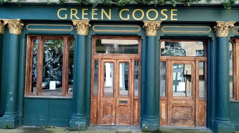 Goose Green pub on Anglo Road, Bow, with its doors closed.