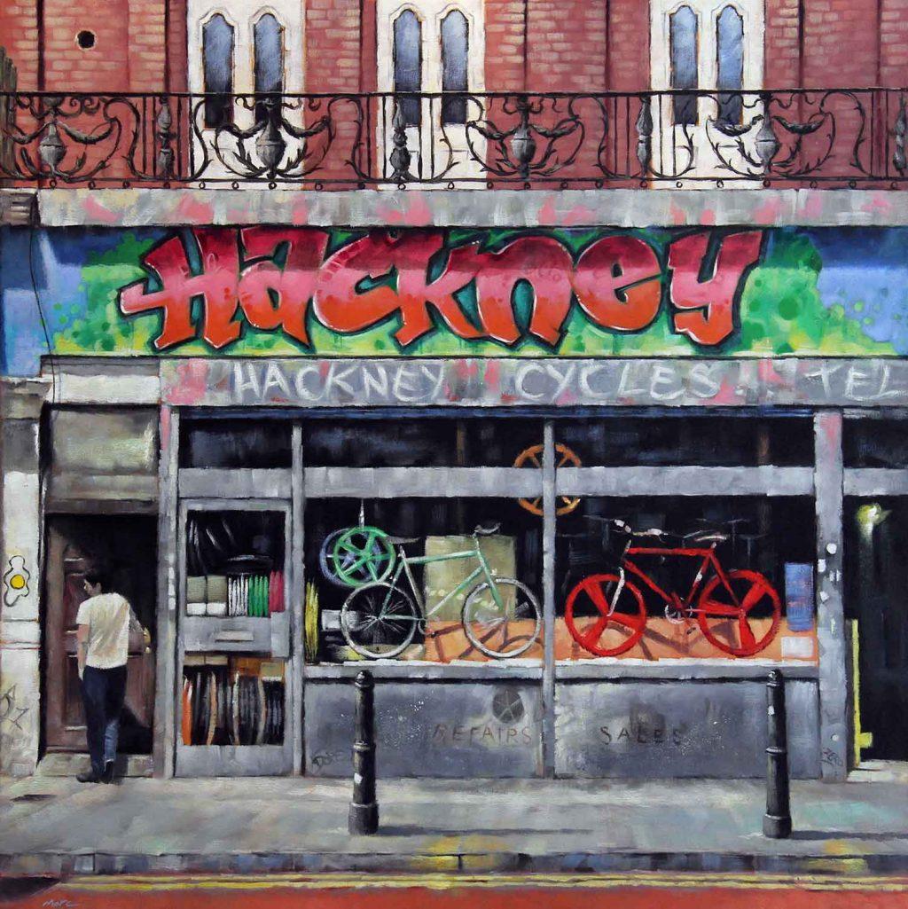 Hackney Cycles, painting by artist Marc Gooderman.