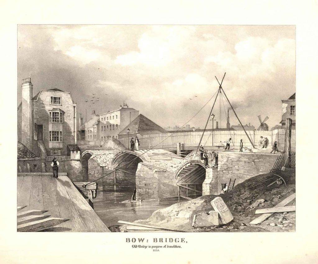 The old Bow Bridge being demolised in 1835.
