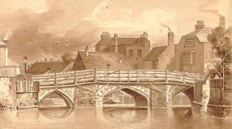 The old Bow Bridge, shortly before demolition in 1832.