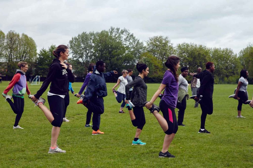 Our Parks, outdoor exercise class in Victoria Park, East London