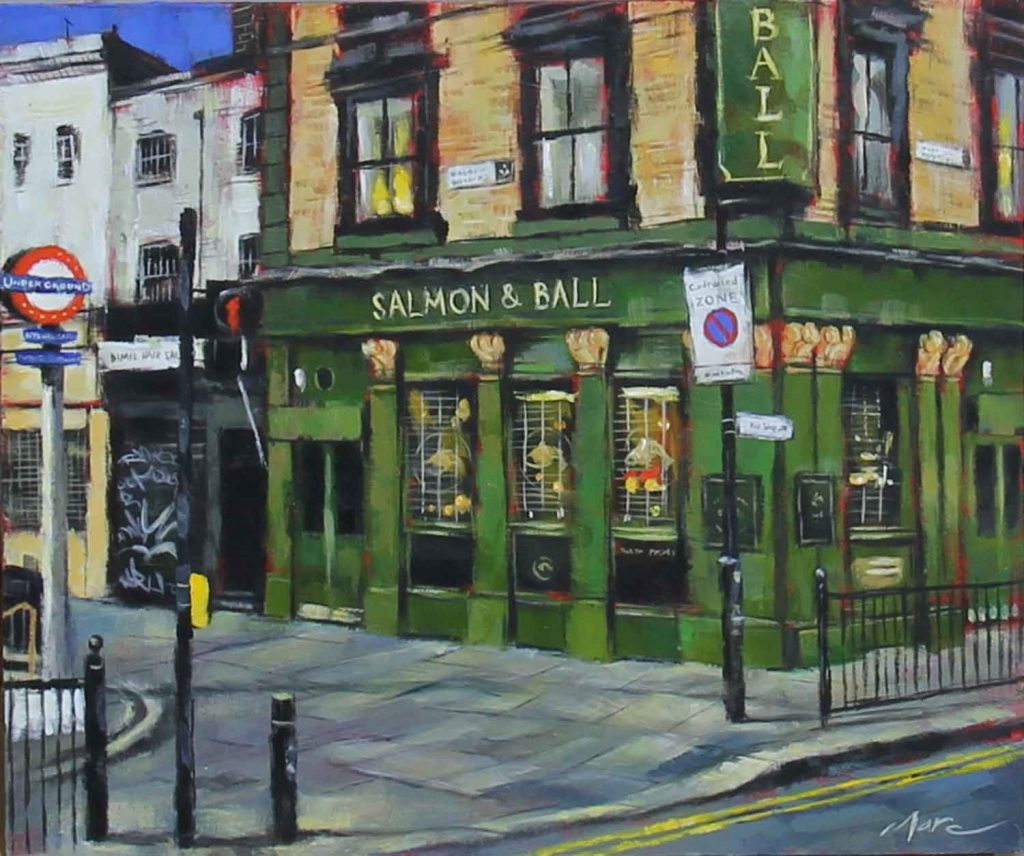 Salmon and Ball pub, painting by artist Marc Gooderman.