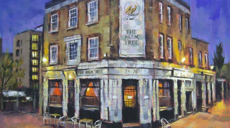Palm Tree pub, , painting by artist Marc Gooderman