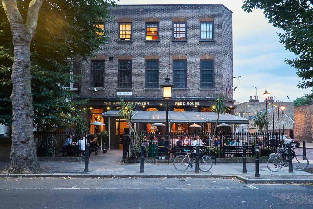 The beer garden in front of Approach Tavern, Bethnal Green, East London