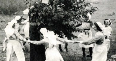 Nurses dancing around the Mulberry Tree at the London Chest Hospital, Bethnal Green