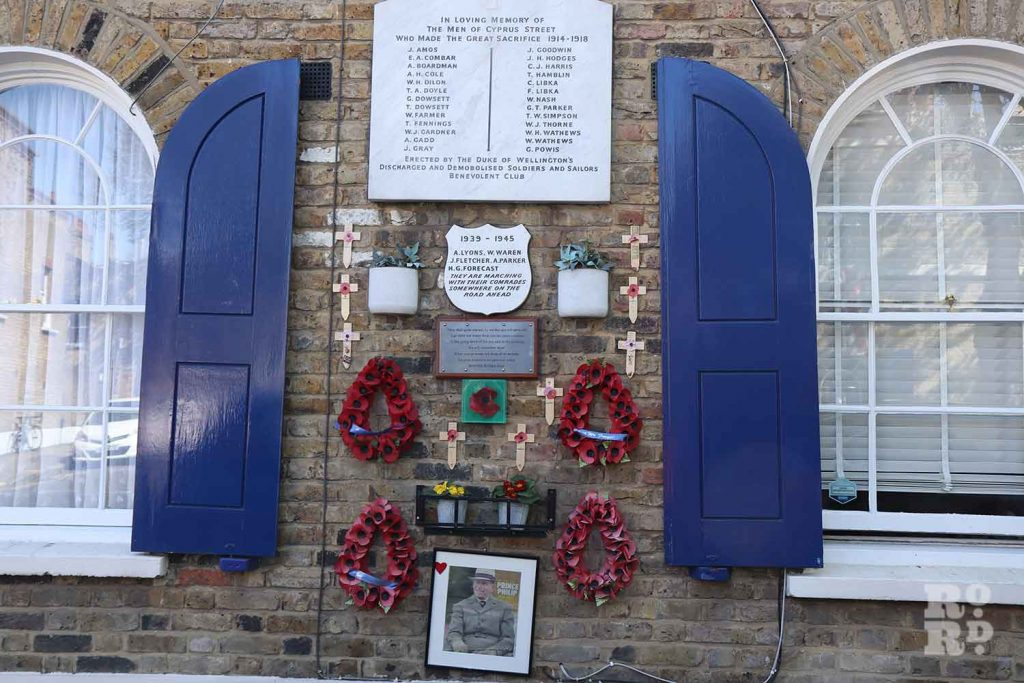 War Memorial on Cyprus Street, Bethnal Green, East London.