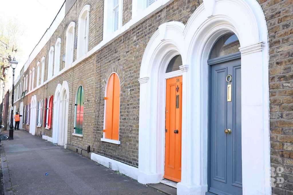 Colourful shutters on Cyprus Street, Bethnal Green, East London.