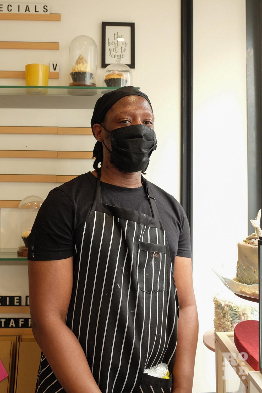 David Amoateng wearing a mask, Mama Mae, cupcakes on Roman Road