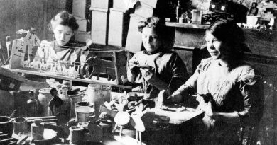 Children working at Sylvia Pankhurst's Toy Factory in 1915 on what is now Norman Grove in Bow.