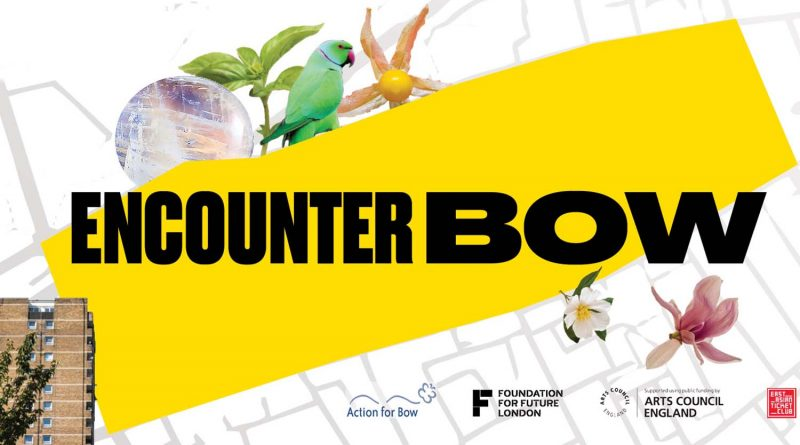 Encounter Bow 2021's poster, featuring a building, a parrot and a plant