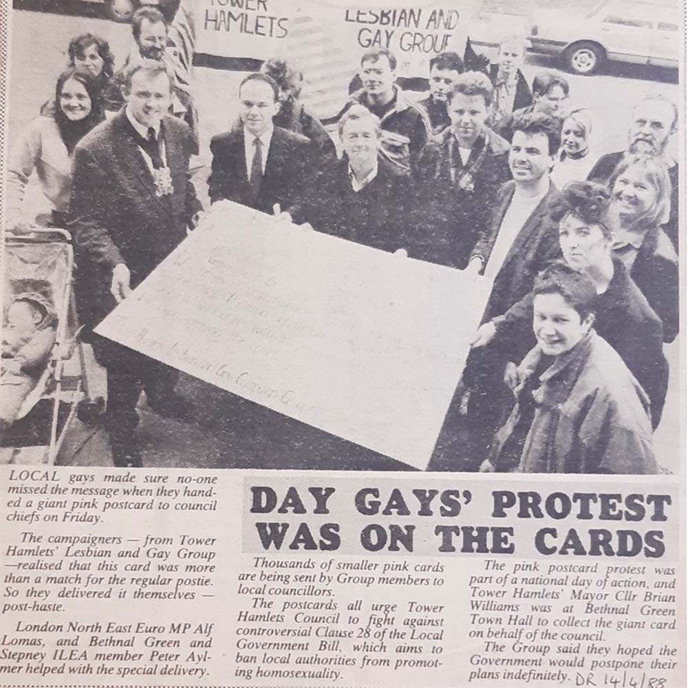 Clipping from a newspaper showing a protest against Clause 28