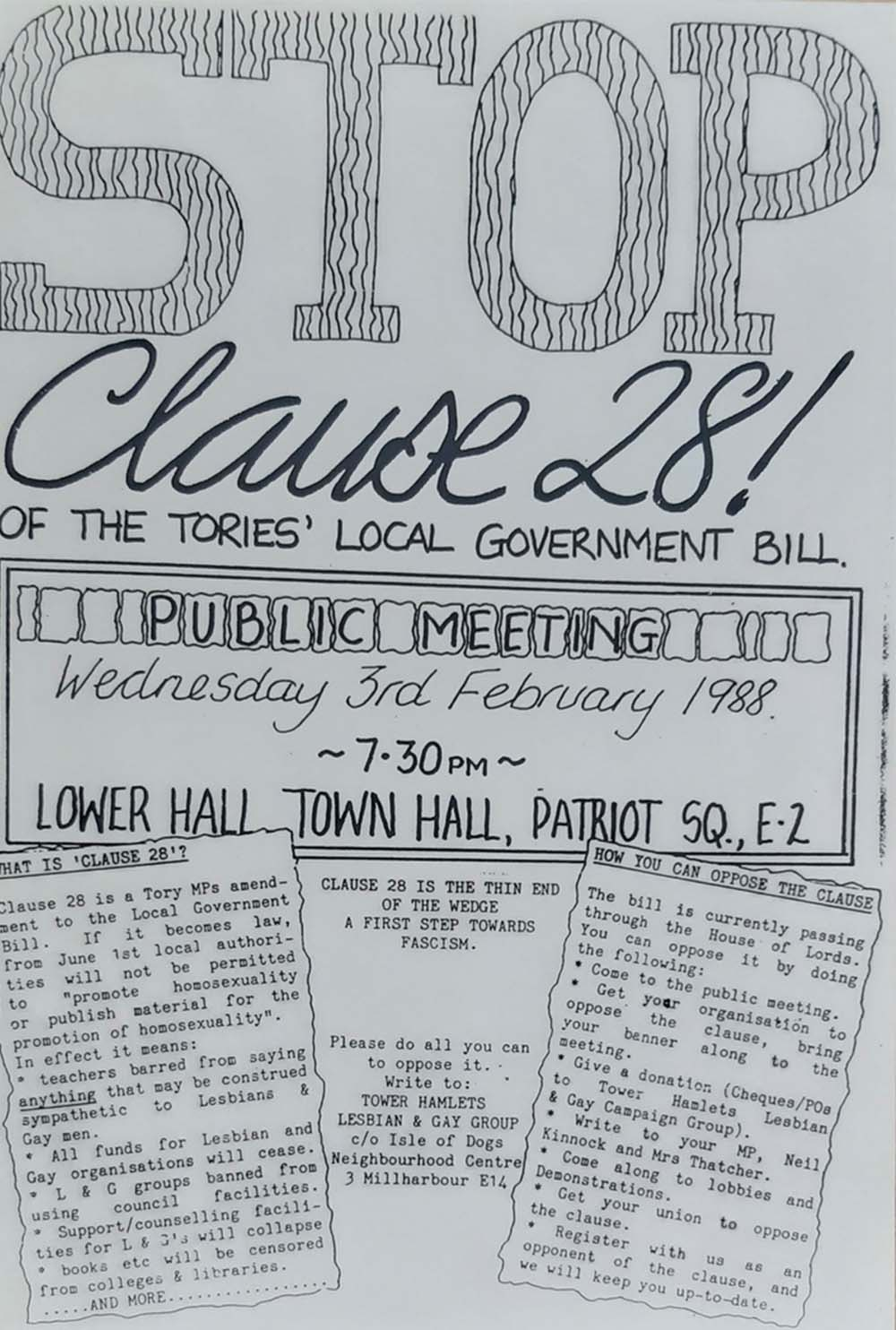 An A4 'Stop Clause 28' poster from the 3rd Feb 1998
