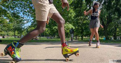 customised disco roller skates, Victoria Park, East London.