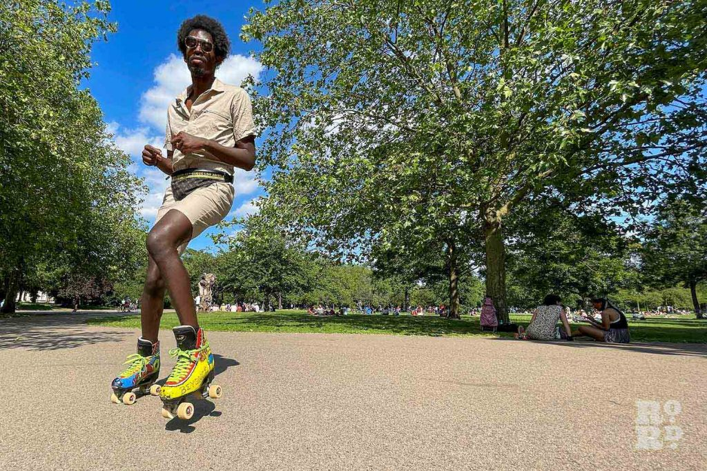 Yellow boots, roller-skating, Victoria Park, East London.