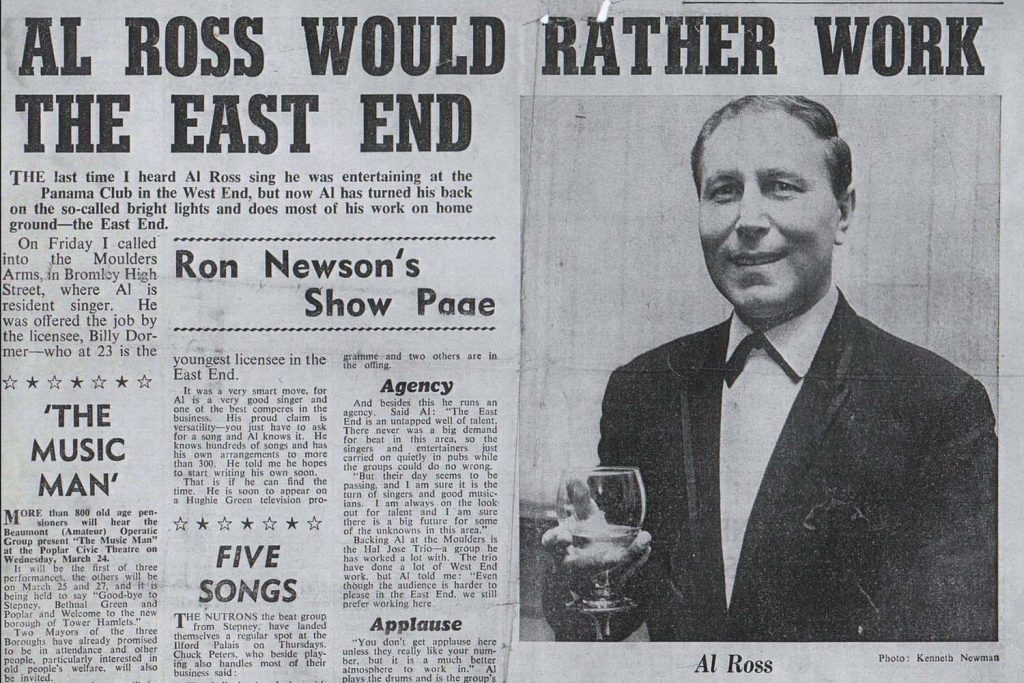 A newspaper clipping of Al Ross holding a glass of wine in a smart dinner suit Chris Ross East End Poet