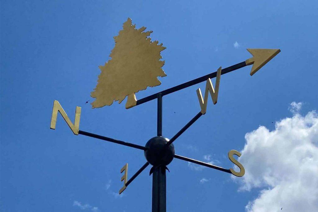 Virgina Overton's weathervane sculpture, called Untitled (Juniper), at Three Mills makes up The Line art walk