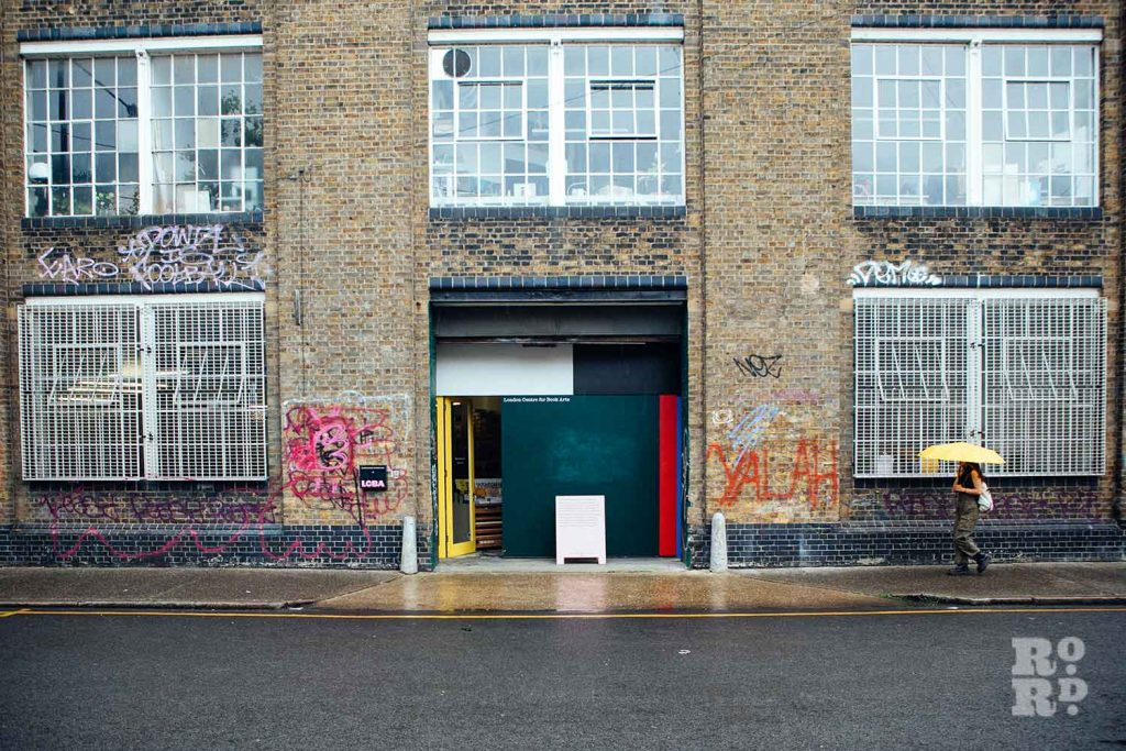 The brick exterior of the London Centre for Book Arts in Fish Island, Hackney Wick