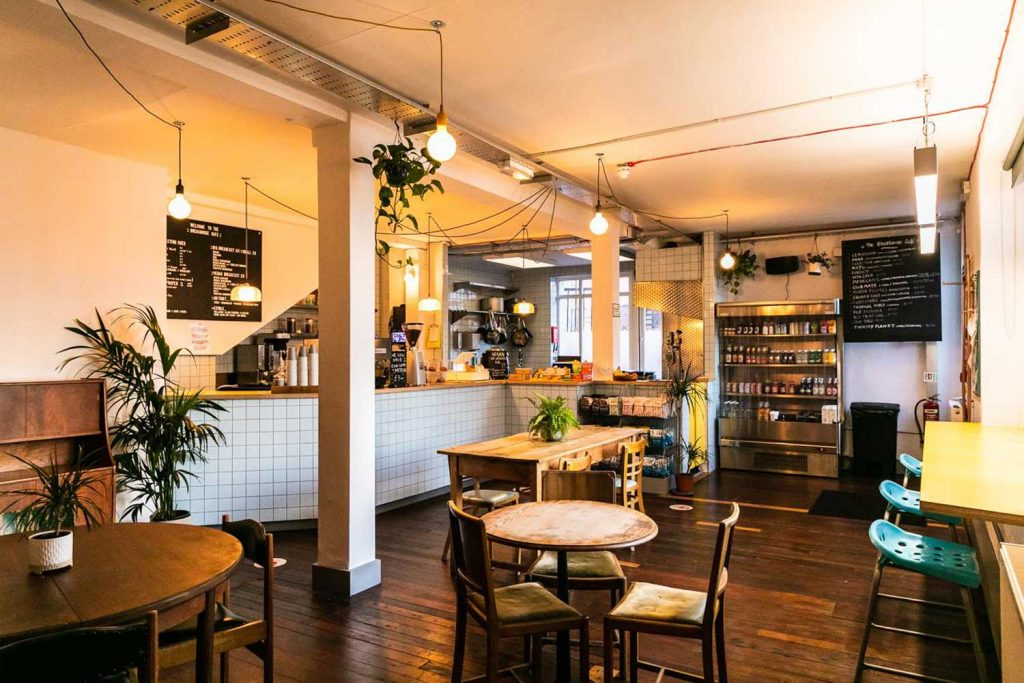 Coffee and the cafe kitchen, Breakhouse Cafe, Fish Island, East London.