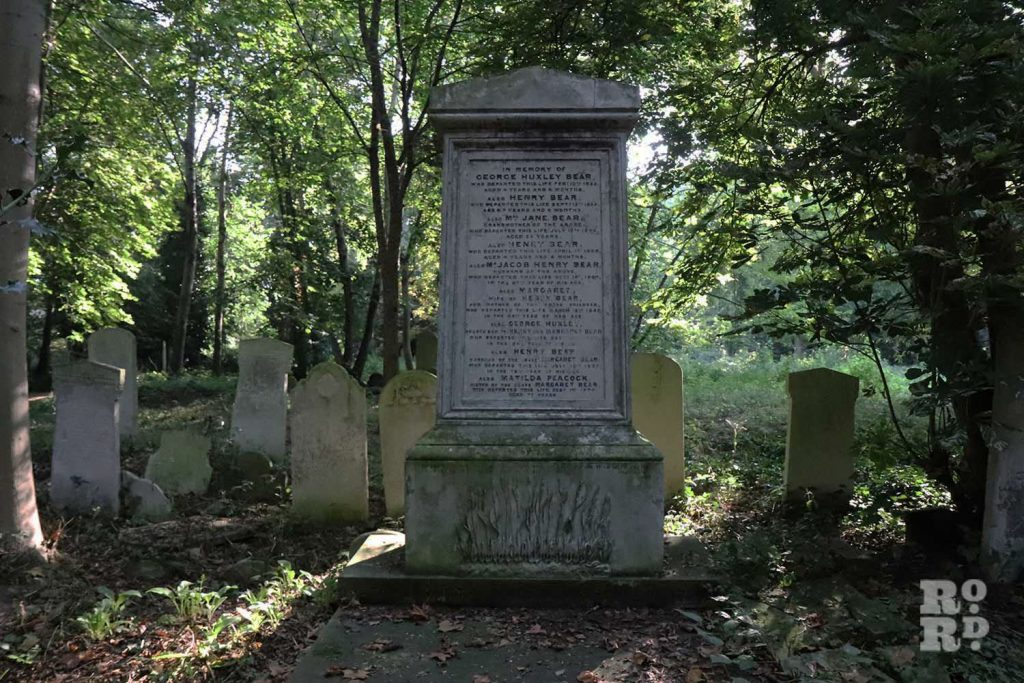 Old grave of the Bear Family, Tower Hamlets Cemetery Park, East London