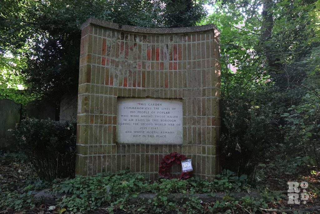 Brick memorial to victims of the Blitz, East London
