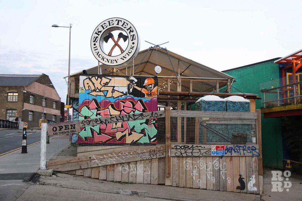 Skeeters, axe throwing, Hackney Wick, East London.